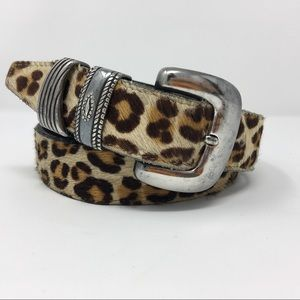 Lovely Pony Hair Cheetah print Leather Belt